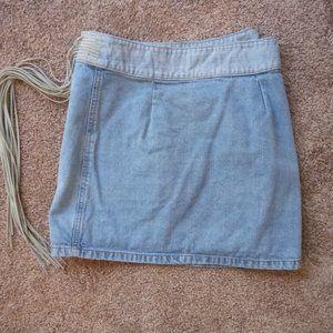 Sharagano Skirts - SHARAGANO Denim Skirt w/Fringe $30